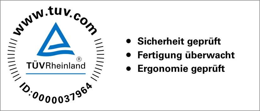 Prüfzeichen TÜV Rheinland Ergonomie geprüft