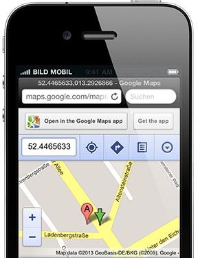 """Der GPS-Sender f�r Hunde von """"Wo ist Lilly?"""" gibt den genauen Standort des Hundes via Google Maps an."""