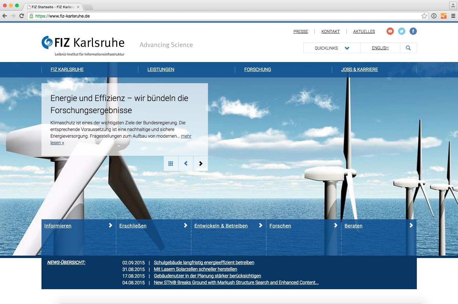 Pressebild: FIZ Karlsruhe pr�sentiert sich mit seiner neuen Unternehmenswebsite als innovativer Dienstleister und Partner der Forschung.