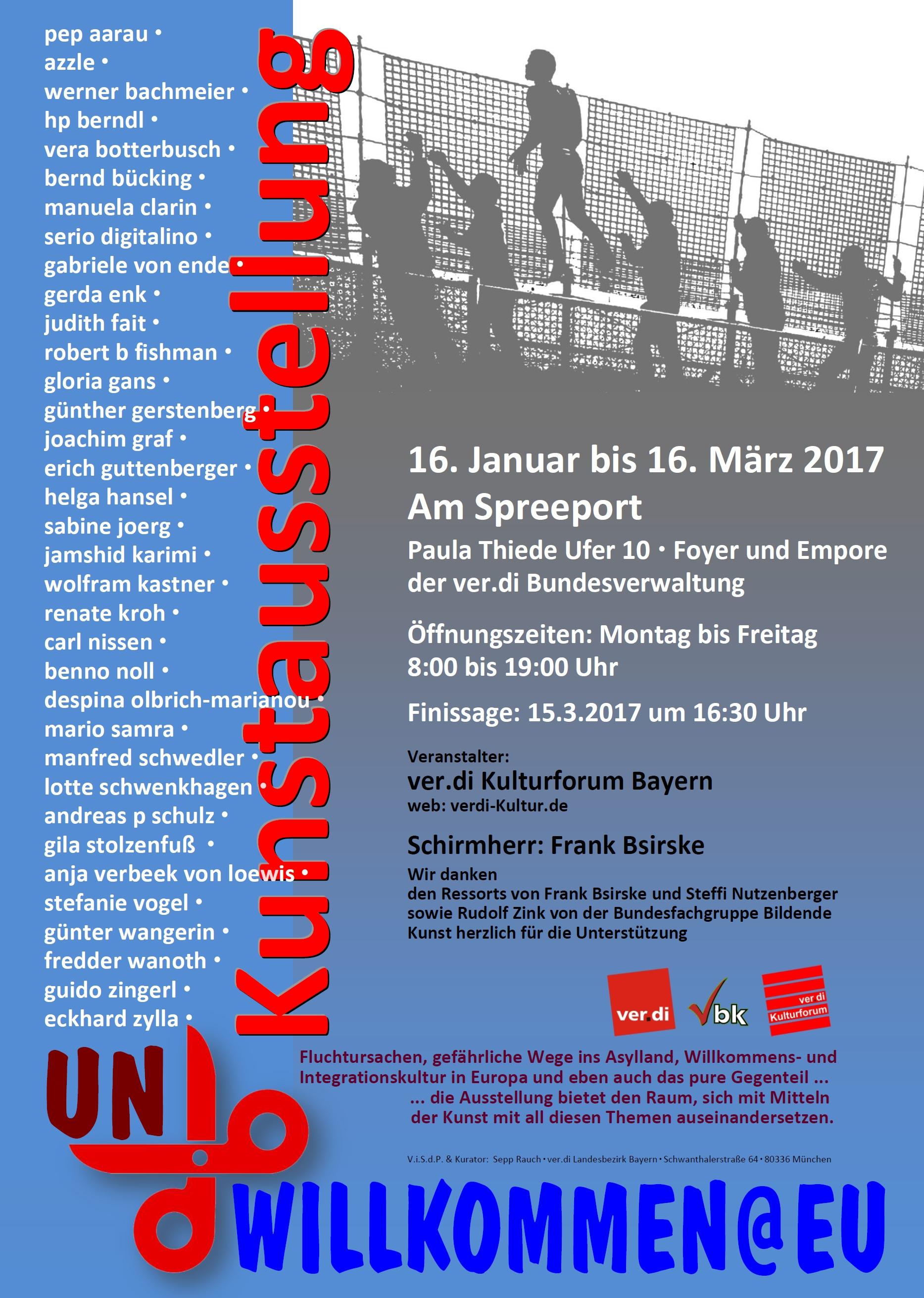 Veranstaltungsplakat Kunstausstellung Berlin: un.willkommen@eu