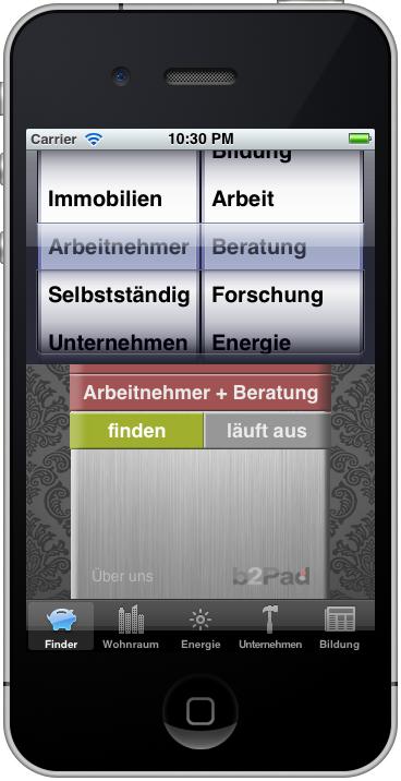 Fördermittel-App: Fördermittel-Finder