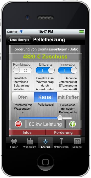 Fördermittel-App: Zuschuß-Rechner