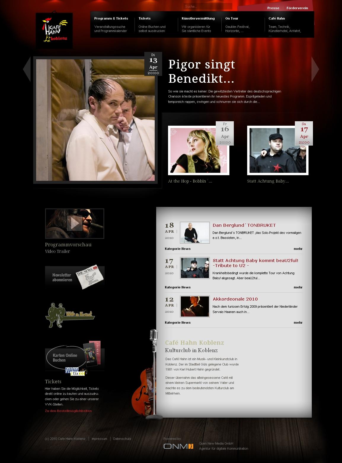 Die neue Webseite des Café Hahn