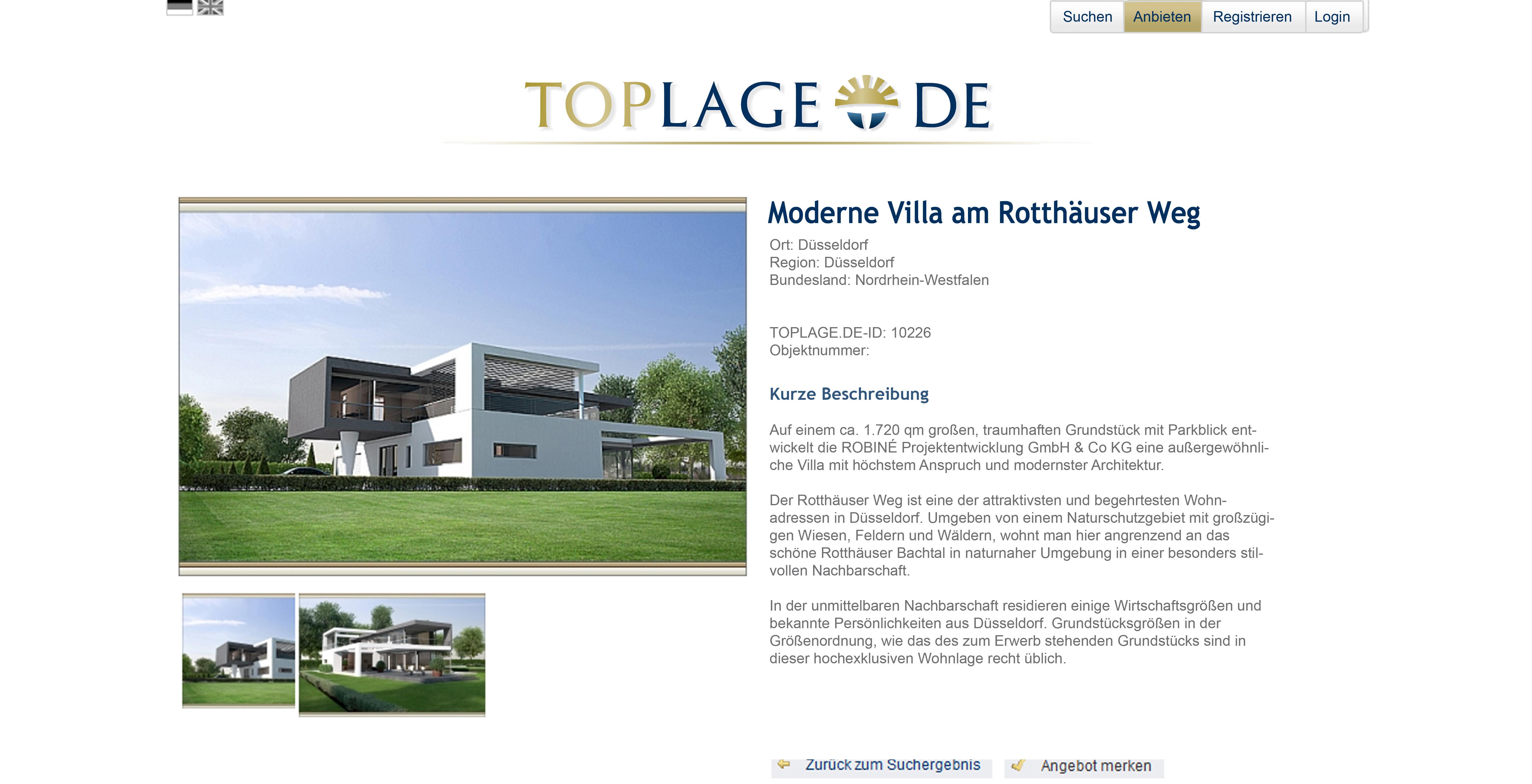 Toplage.de Website Objektbeispiel
