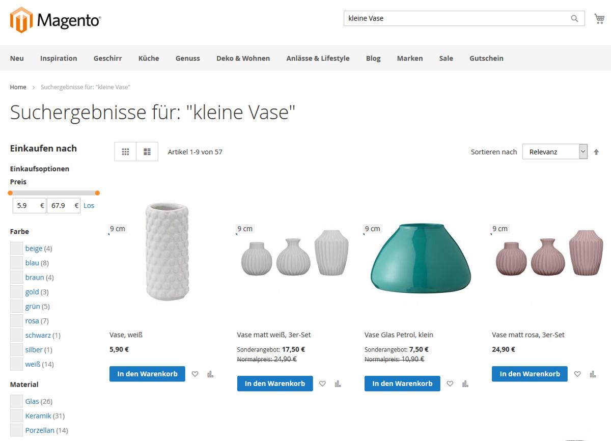 Suchergebnisse von SEMKNOX mit Anzeige der suchrelevanten Produkteigenschaft als Flag am Produktbild sowie passend zur Suchanfrage generierten Filtern im Magento 2-Demoshop